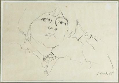 Jacques BUREL (1922-2000). Portrait de femme....