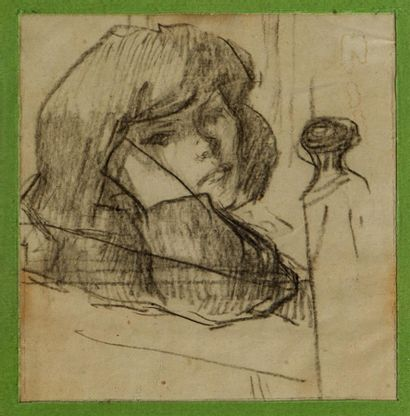 Jacques BUREL (1922-2000). Portrait de jeune...