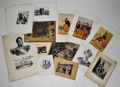 Ensemble de 26 gravures signé Andrieux, 14...
