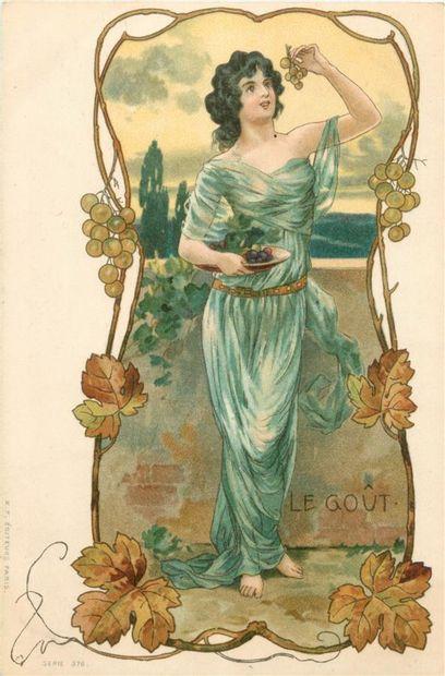 5 CARTES POSTALES ILLUSTRATION : Les 5 Sens-Femme....