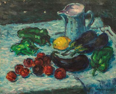 ALYARAKI (Ecole du XXème siècle). Nature morte aux poivrons et aubergines Huile...