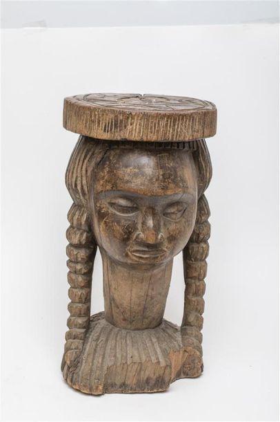 Tabouret à tête de femme. Culture Yorouba...