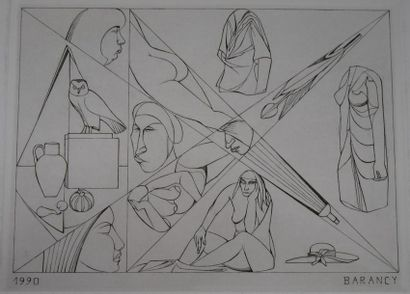 BARANCY. Composition abstraite femme nue. Gravure sur papier signée et datée 1990....
