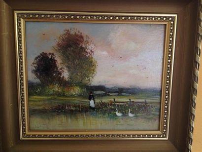 LENSKY Michel (né en 1953). Paysanne au bord du lac. Huile sur isorel, signée en...