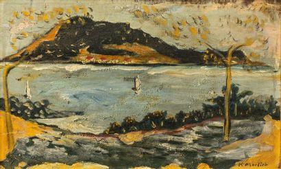 Ecole du XXème siècle. Paysage bord de mer...