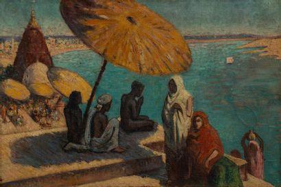 DIMAH? Scène de méditation Huile sur toile Encadrée 49 x 73 cm.
