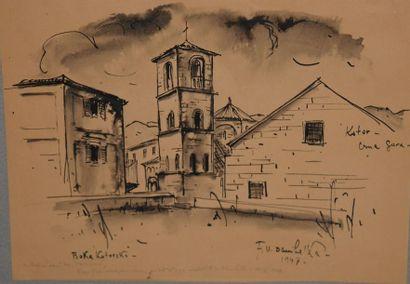Ecole du XXème siècle. Vue de village. Gravure...