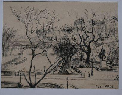 HULOT Suzanne (XIX-XXème siècle). Le Pont...