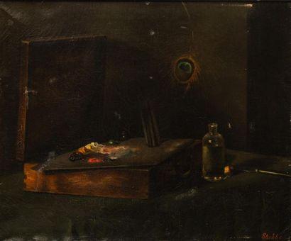 STUBBE (Ecole XXème siècle). Nature morte à la plume de paon Huile sur toile, signée...