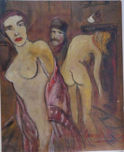 Ecole du XXème siècle. Femmes et hommes. Femmes et chevaux. Deux huiles sur toile,...