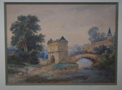 DE SOURCY. P. (Ecole du XIXème siècle). Couple...