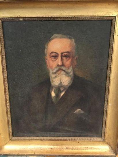 J. Cusson Portrait d'homme, Huile sur toile...