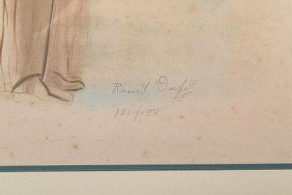 DUFY Raoul (1877-1953) Portrait en pied d'élégant Estampe en couleurs signé au crayon...
