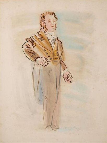 DUFY Raoul (1877-1953) Portrait en pied d'élégant...