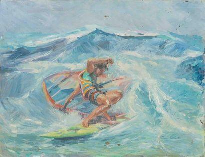 LALLOUET Jean (XXème siècle) Wind surfeur?...