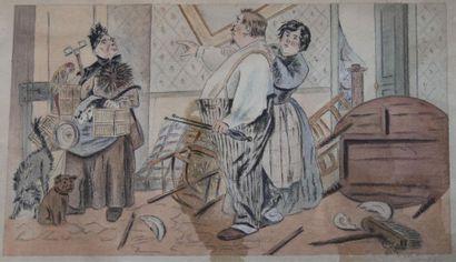 École fin XIXe-début XXème siècle. Scène...