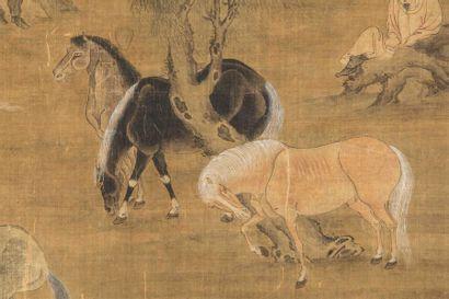 CHINE - XVIIe siècle Deux palefreniers et leurs huit chevaux Encre polychrome sur...