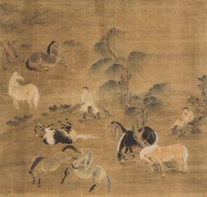 CHINE - XVIIe siècle Deux palefreniers et...
