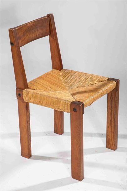 CHAPO Pierre (1927 - 1987) Suite de 4 chaises...