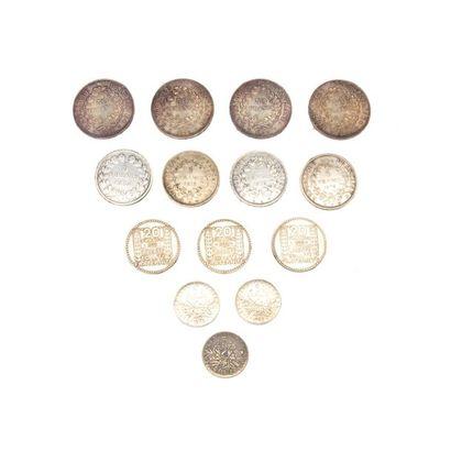 Lot de pièces en argent .