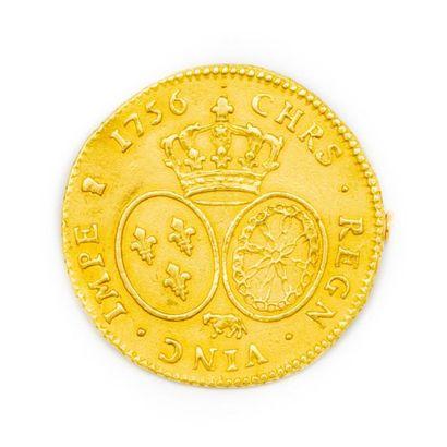 Louis d'or de 1756 monté en broche D. : 2,8...