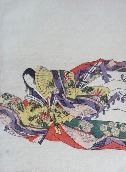 ANONYME - JAPON Femme à l'éventail Estampe...