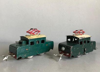 LR 2 locomotives électrique en tôle peinte...