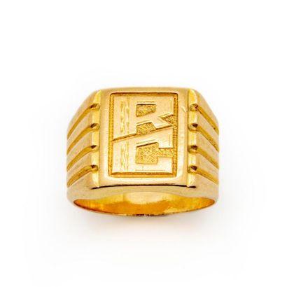 chevalière en or jaune initiale HD Poids...