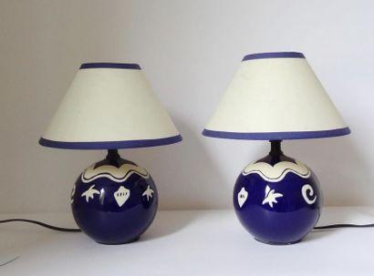 Paire de petites lampes de forme boule en...