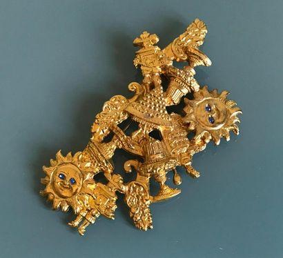 DALLOYAU Broche en métal doré et strass les...