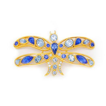 Broche papillon fantaisie en métal doré et...