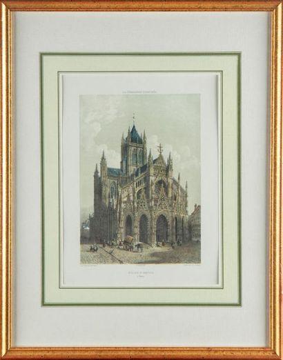 Deux gravures en couleur : vues de Rouen...