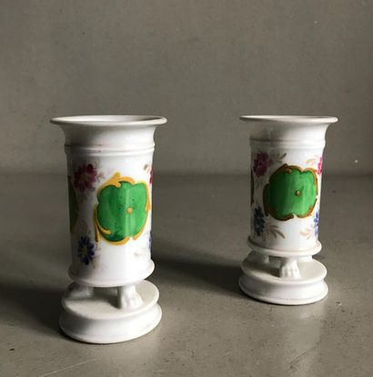 PARIS Paire de petits vases tubulaire en...