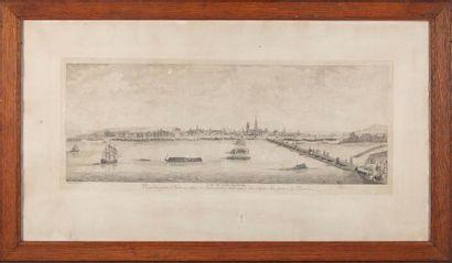 Gravure en noir et blanc : Vue de Rouen H....