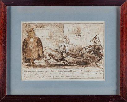 ECOLE ANGLAISE Deux gravures à sujet de caricatures...