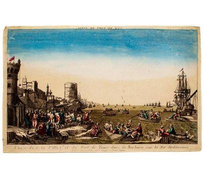 Vue d'optique en couleur XVIIIe : Le port...