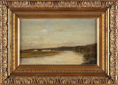 ECOLE FRANCAISE Paysage bord de rivière Huile...