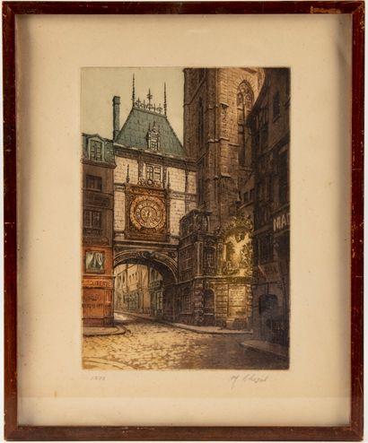 Le Gros Horloge à Rouen  Gravure  Signé en...