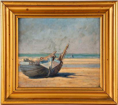 G. BRUNEEL (XXe)  Bord de plage à la barque...