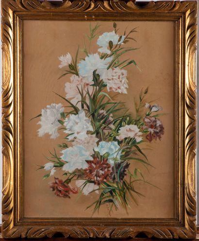M. GARDEN  Bouquet d'oeillets  Aquarelle...