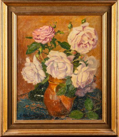 Gilbert DECROIX (XXe)  Bouquet de roses  Huile...