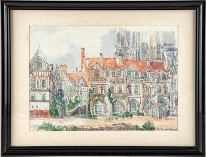 Harold BEACH  Cour d'Albane à Rouen  Aquarelle...