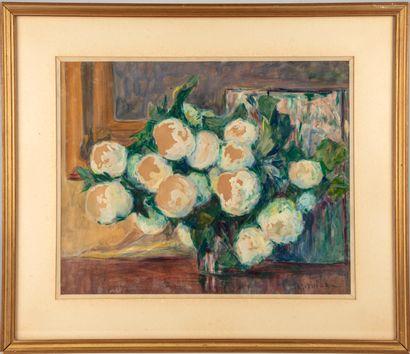 Raymond QUIBEL (1883-1978)  Bouquet de pivoines...
