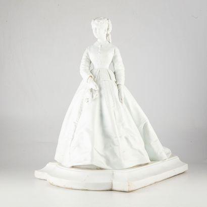 Sculpture en porcelaine non émaillée représentant...