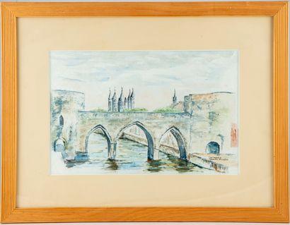 ECOLE FRANCAISE DU XXe  Paysage au pont  Aquarelle...