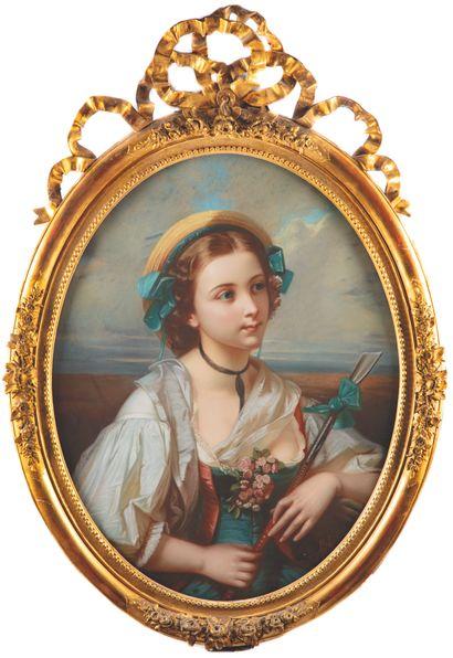 ECOLE DU XIXe  Portrait d'une jeune fille...