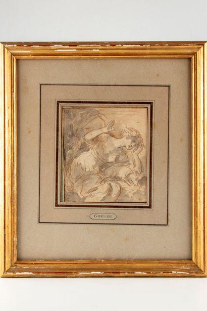Attribué à Jean-Baptiste GREUZE  Dessin plume...