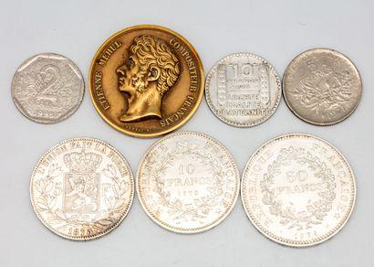 Lot de pièces en argent : 1 x 50 francs,...