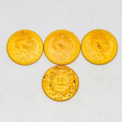 Quatre pièces de 10 francs or au coq