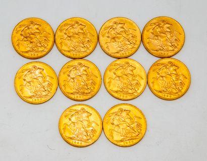 Dix souverains en or Geoges V  1928